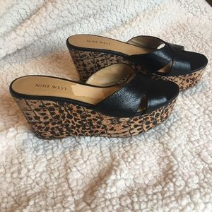 Nine West leopard wedge sandal